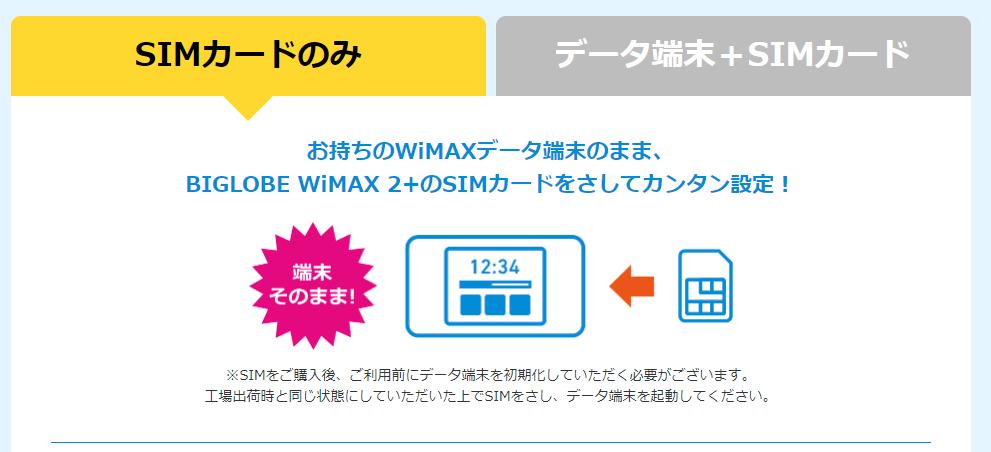 BIGLOBE WiMAX SIMのみの契約
