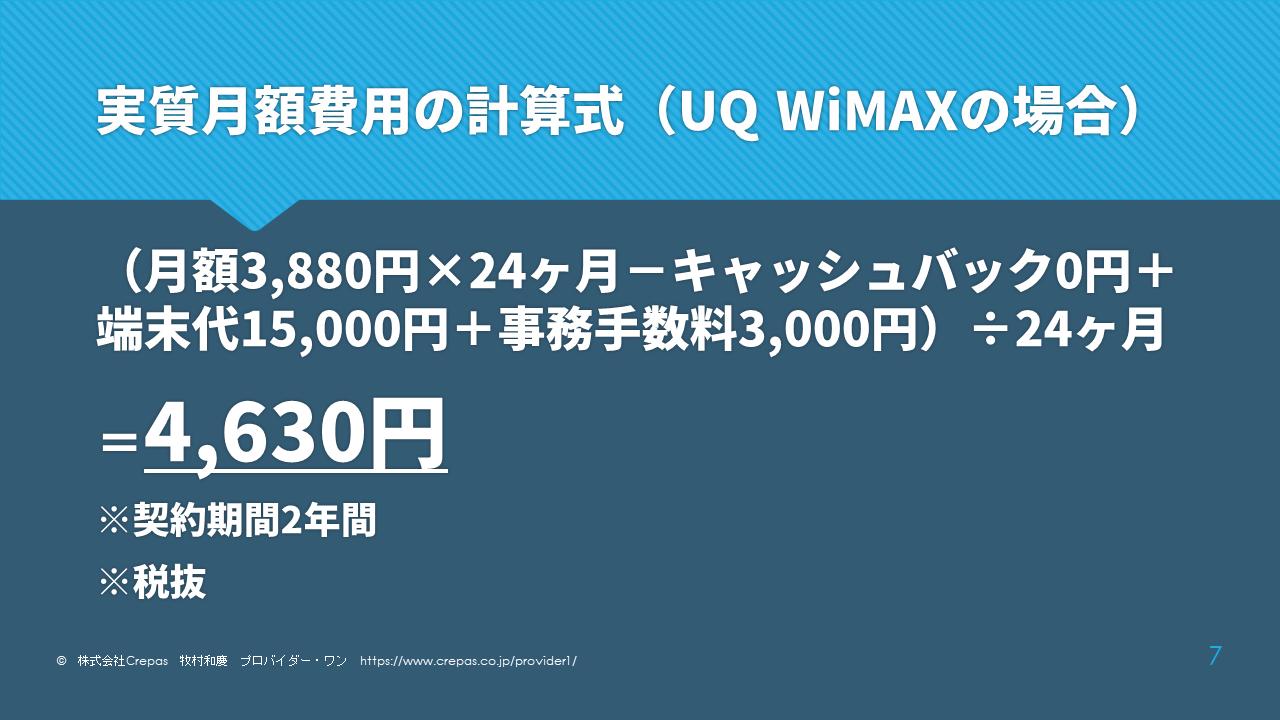 UQ WiMAXの実質月額費用