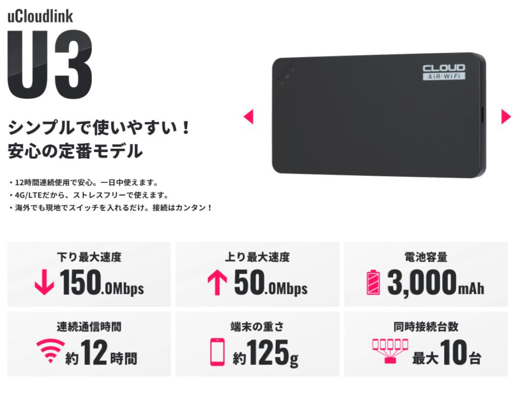 地球WiFiの端末(U3)