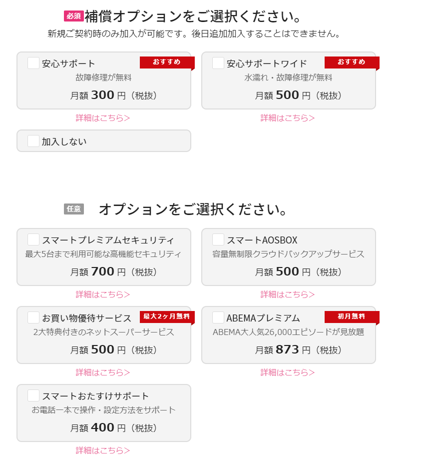 THE WiFi オプション選択画面