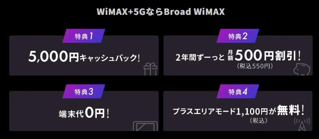 Broad WiMAX+5Gキャンペーン