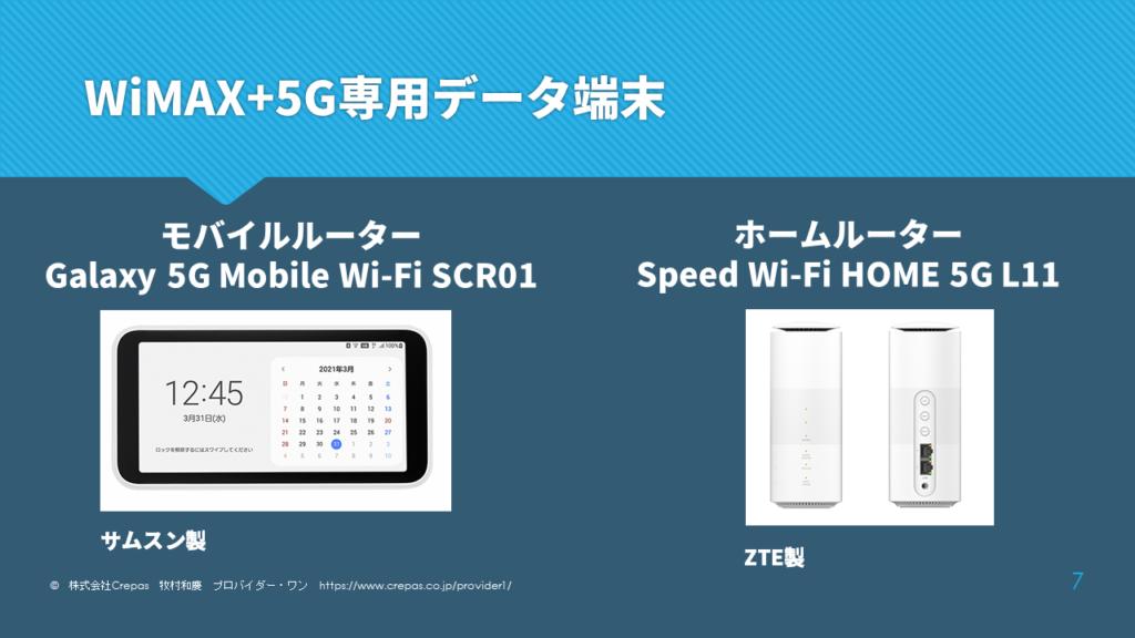 WiMAX+5Gの専用データ端末