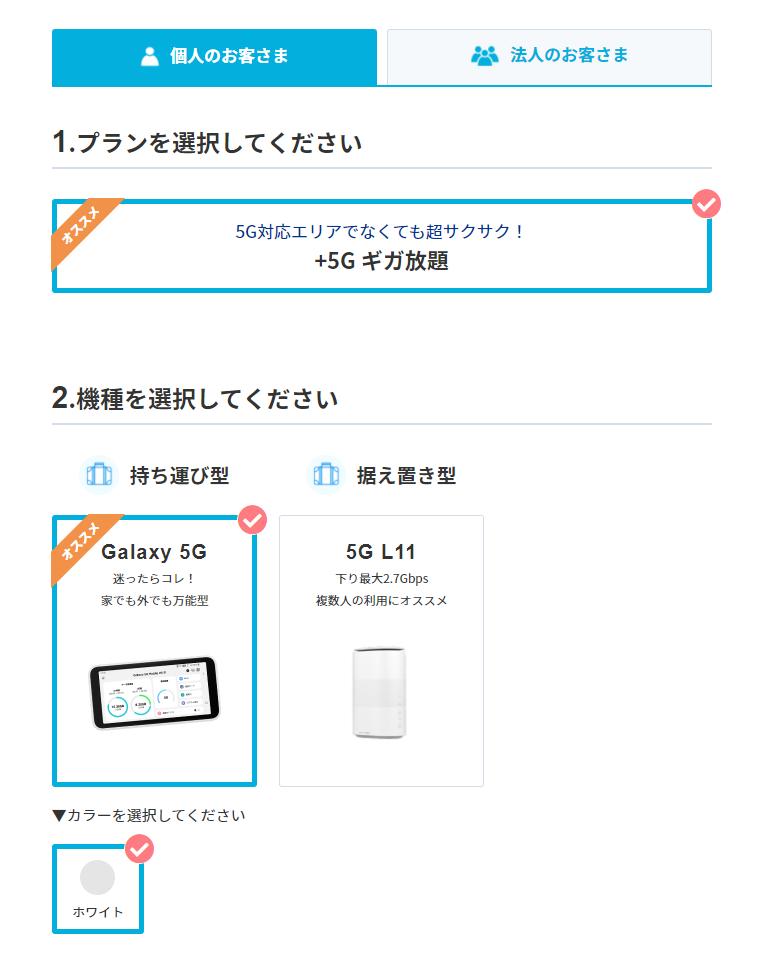 カシモWiMAX+5G申込みフォーム